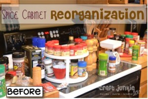 Spice Cabinet Reorganization with Recycled Cricut cartridge boxes