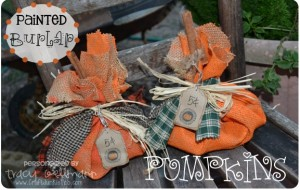 {Painted Burlap} Pumpkins Tutorial