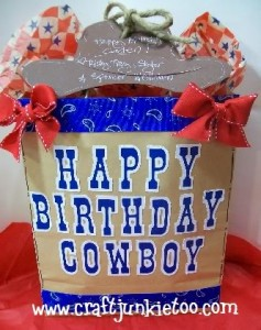 ♥ Happy Birthday Cowboy Decorated Gift Bag ♥