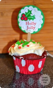 "Holly Jolly Toppers ""on top"" of Red Velvet Cupcakes!"