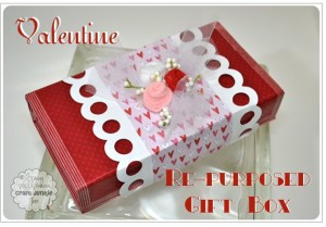 {Valentine Gift Box} Tutorial using Recycled Cricut Cartridge Box