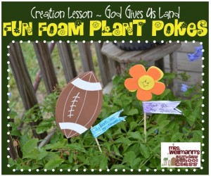 Fun Foam Plant Pokes ~ Creation Story {God Gives Us Land}
