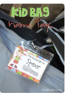 {Kid Bag} Names Tags + Free Printable