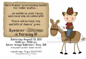 Cowboy Roller Skating Birthday Invitation