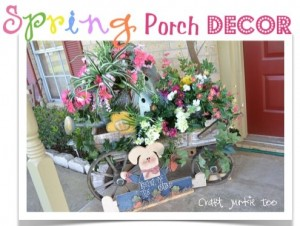 Spring Wagon Porch Decor
