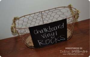 {Wire Basket} Gets a Make-over with Chalkboard Vinyl