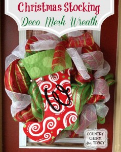 {Christmas Stocking} Deco Mesh Wreath
