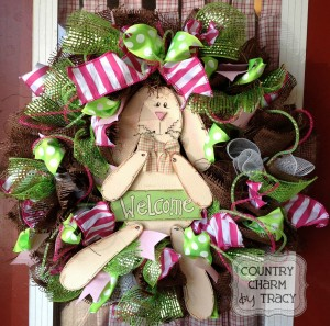 {Wooden Bunny Chocolate Spring Wreath}