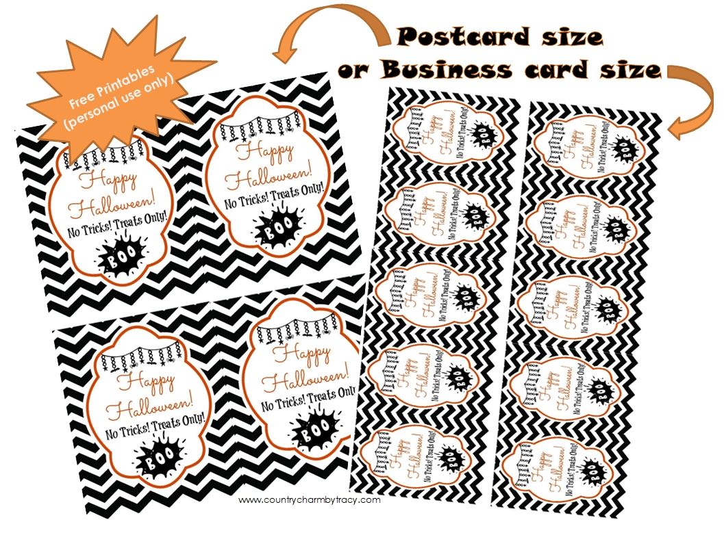 Halloween tags free printable country charm by tracy halloweenprintables i created two sizes including a postcard size and business card reheart Choice Image