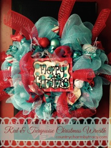 Red & Turquoise Christmas Deco Mesh Wreath