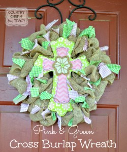 ♥ Pink & Green Cross Spring Wreath – 2 Different Ways!
