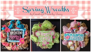 3 Burlap & Mesh Spring Wreaths ~ Handpainted and Cute!