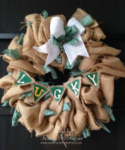 St. Patty's Day Rustic and Country Burlap Wreath