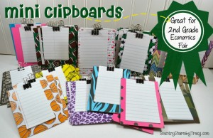 ♥ Mini Clipboards for 2nd Grade Economics Fair