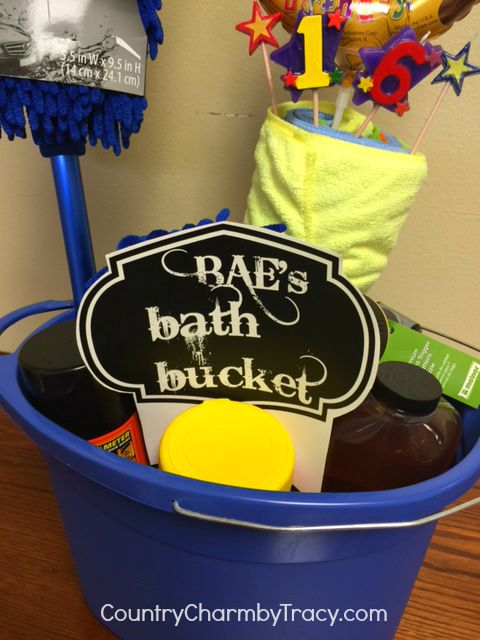 car wash gift basket for teenage boy country charm by tracy baebucket2 negle Image collections