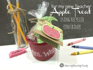 {for my new Teacher} Apple Treat using a Recycled Container