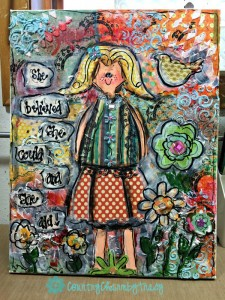 """""""She Believed"""" Girly 11 x 14 Canvas Mixed Media 