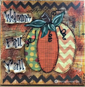 ♥ Welcome Fall Y'all Pumpkin Mixed Media Home Decor