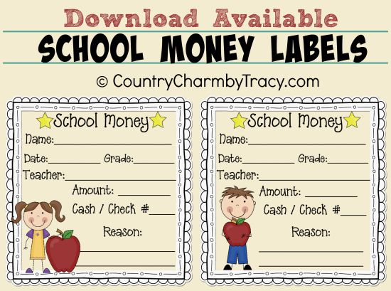 School Money Labels Download Available