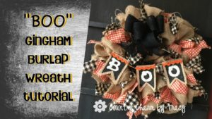 """BOO"" Gingham Burlap Country Wreath Happy Halloween!"