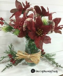 Simple Rustic Christmas Arrangement using Dollar Tree Flowers