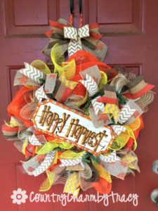 How to Make a Happy Harvest Deco Mesh Wreath with Hand Painted Sign || Step by Step Video Tutorial