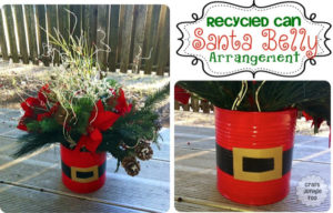 Recycled Can Santa Belly Christmas Arrangement