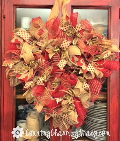 country valentine heart deco mesh wreath