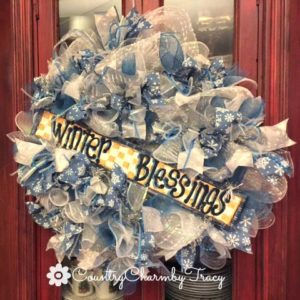 Winter Blessings Deco Mesh Wreath with Hand Painted Sign