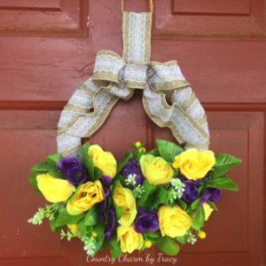 Spring Roses Burlap Wreath