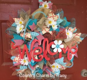 Welcome Daisy Burlap Wreath