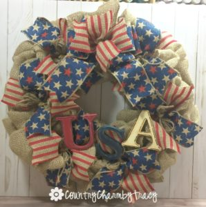 USA Burlap Wreath