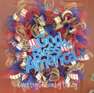 God Bless America Mesh Wreath | Square Wreath DIY