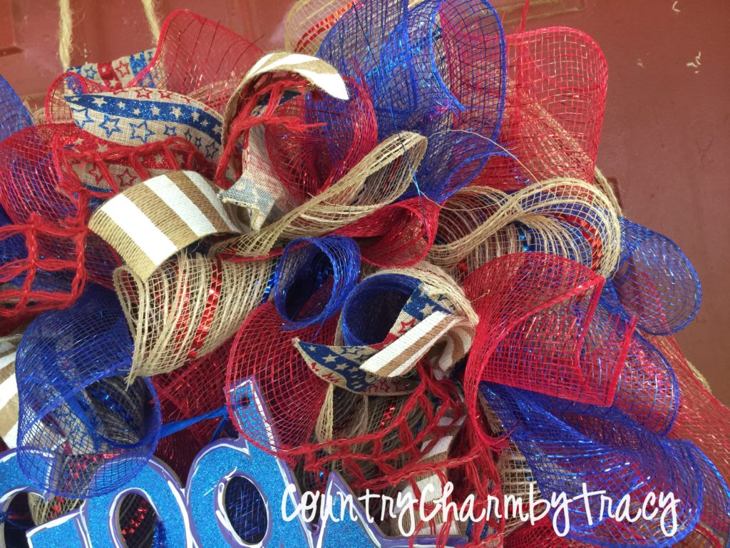 God Bless America Mesh Wreath Square Wreath Diy Country Charm By Tracy