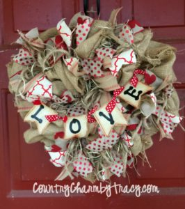 Rustic Burlap Heart Valentine Wreath using Dollar Tree Heart Frame
