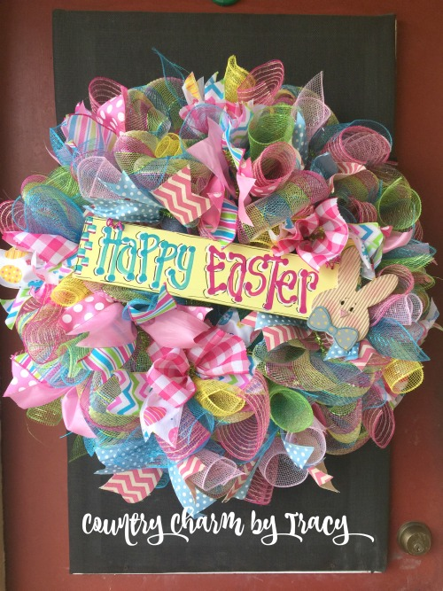 Happy Easter Wreath With A Whole Lotta Ribbon By Tracy