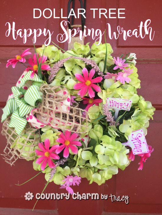 Dollar Tree Happy Spring Wreath Small Space Wreath By Tracy