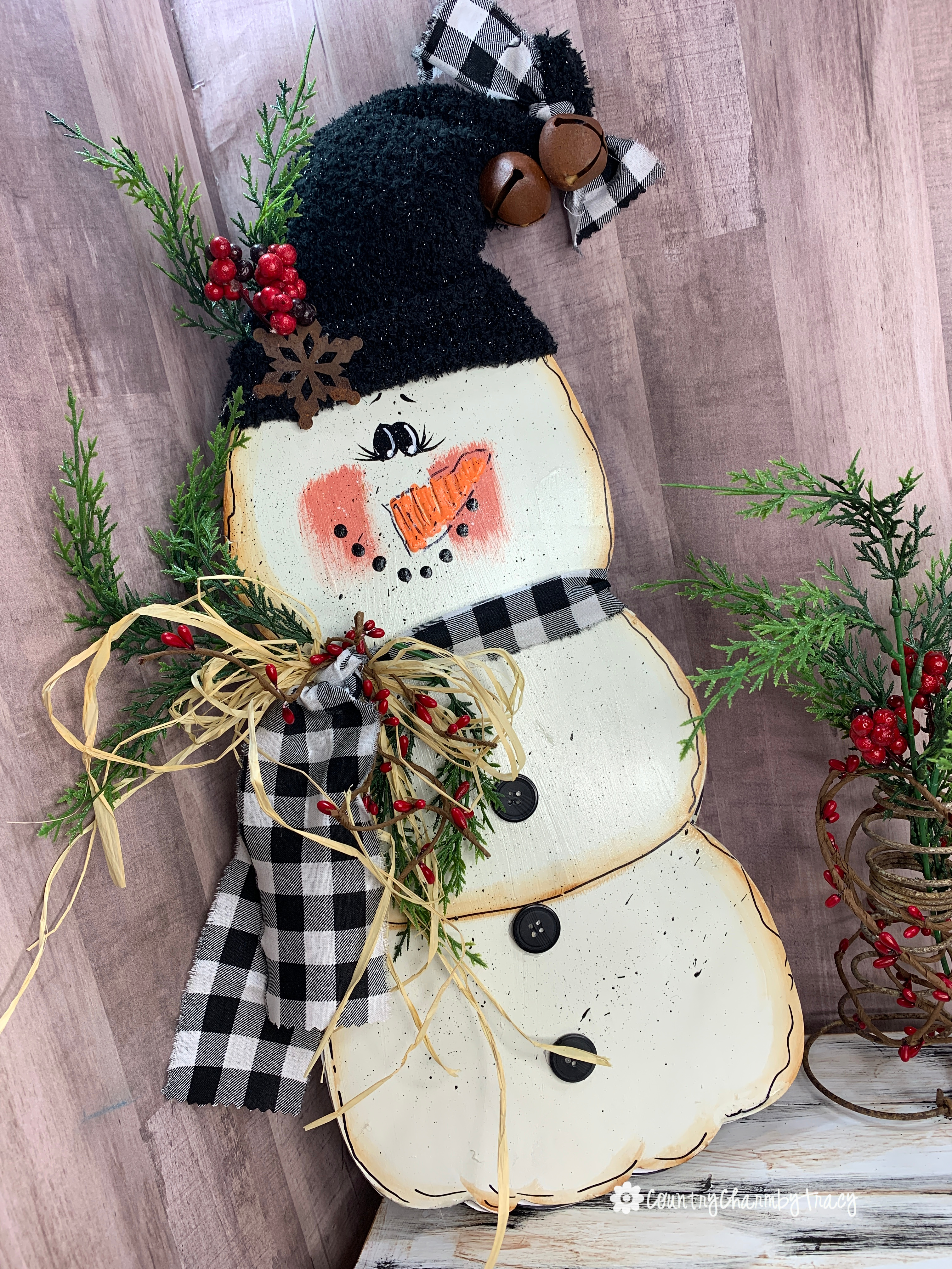 How I Painted A Primitive Country Snowman Turning A