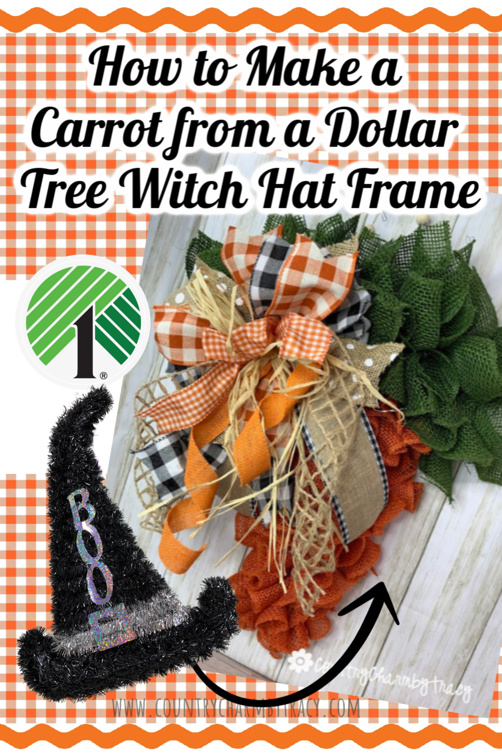 Spring Carrot Using Witch Hat Frame From Dollar Tree Country Charm By Tracy